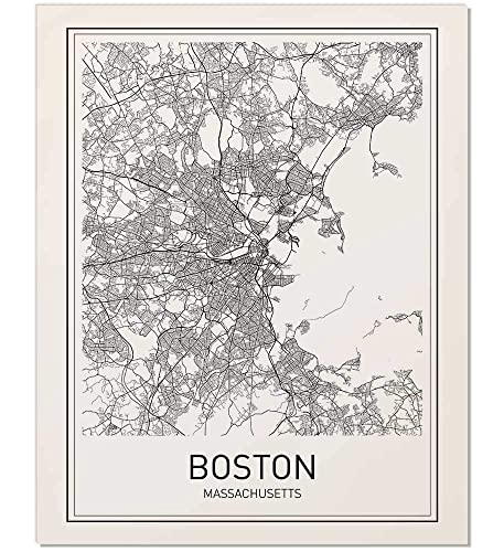 Amazon Com Boston Poster Boston Map Map Of Boston Boston Art