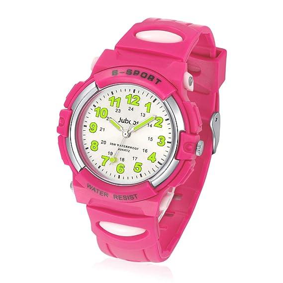 Relojes Niños, Reloj de Pulsera para Niños y Niñas Impermeable Reloj Deportivo de Cuarzo -Rosa Grande: Amazon.es: Relojes