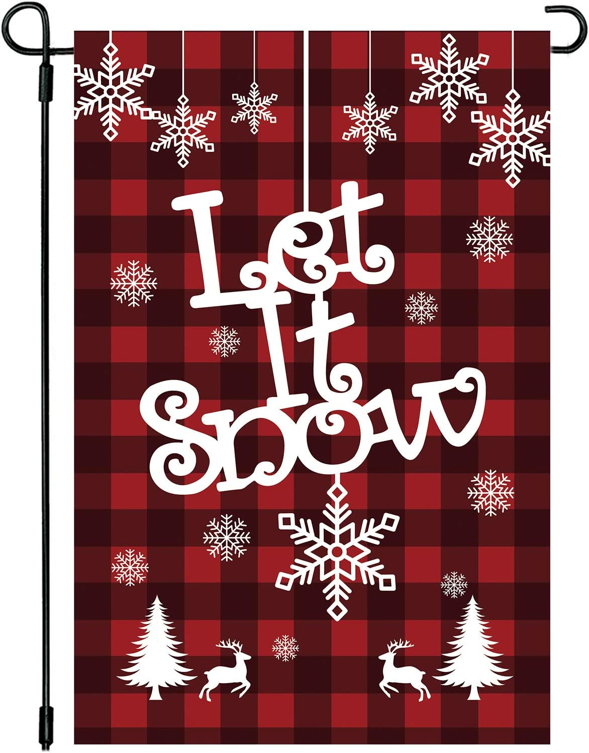 PTFNY Red Black Let it Snow Christmas Garden Flag 12 x 18 Inch Double Sided Buffalo Check Plaids Snowflake Christmas Winter Holiday Farmhouse Yard Outdoor Decoration