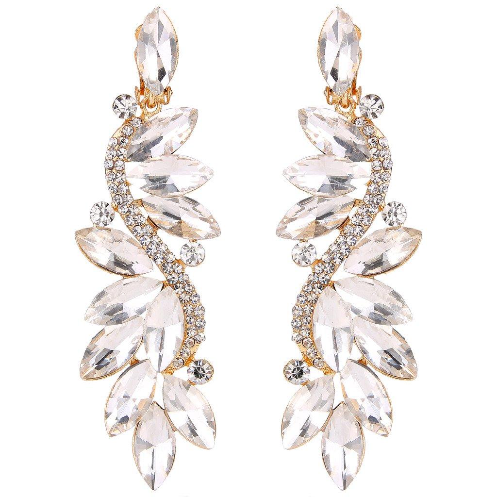 Clearine Femme Vogue Mariée Noces Cristal Fleur Romantique Pendant Clip-On Boucle d'Oreille Clearine Alliage N/A 12001253-9