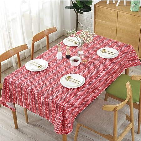 DHHY Mantel de algodón y Lino Árbol de Navidad Impresión de Ciervos Mantel de Mesa de café Impermeable Mantel de decoración del día de Navidad Rojo 140x140cm / 55x55 Inch: Amazon.es: Hogar