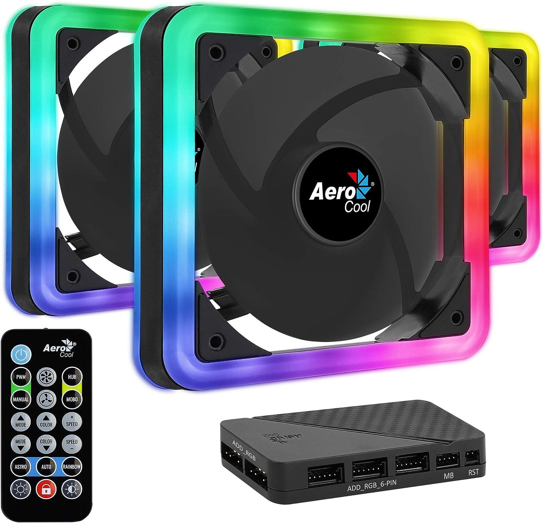 Aerocool EDGE, 3 ventiladores, iluminación RGB, aspas curvas, antivibración
