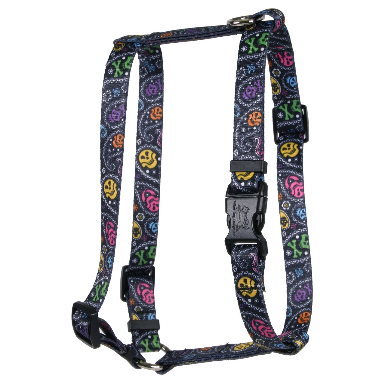 Yellow Dog Design Paisley Skulls Multi Roman Style H Dog Harness, X-Small-3/8 Wide fits Chest of 8 to 14''
