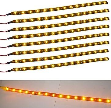Waterproof Boat Car Motors Yellow 1Ft//15 LED Flexible Strip Light 12 inch 8Pcs