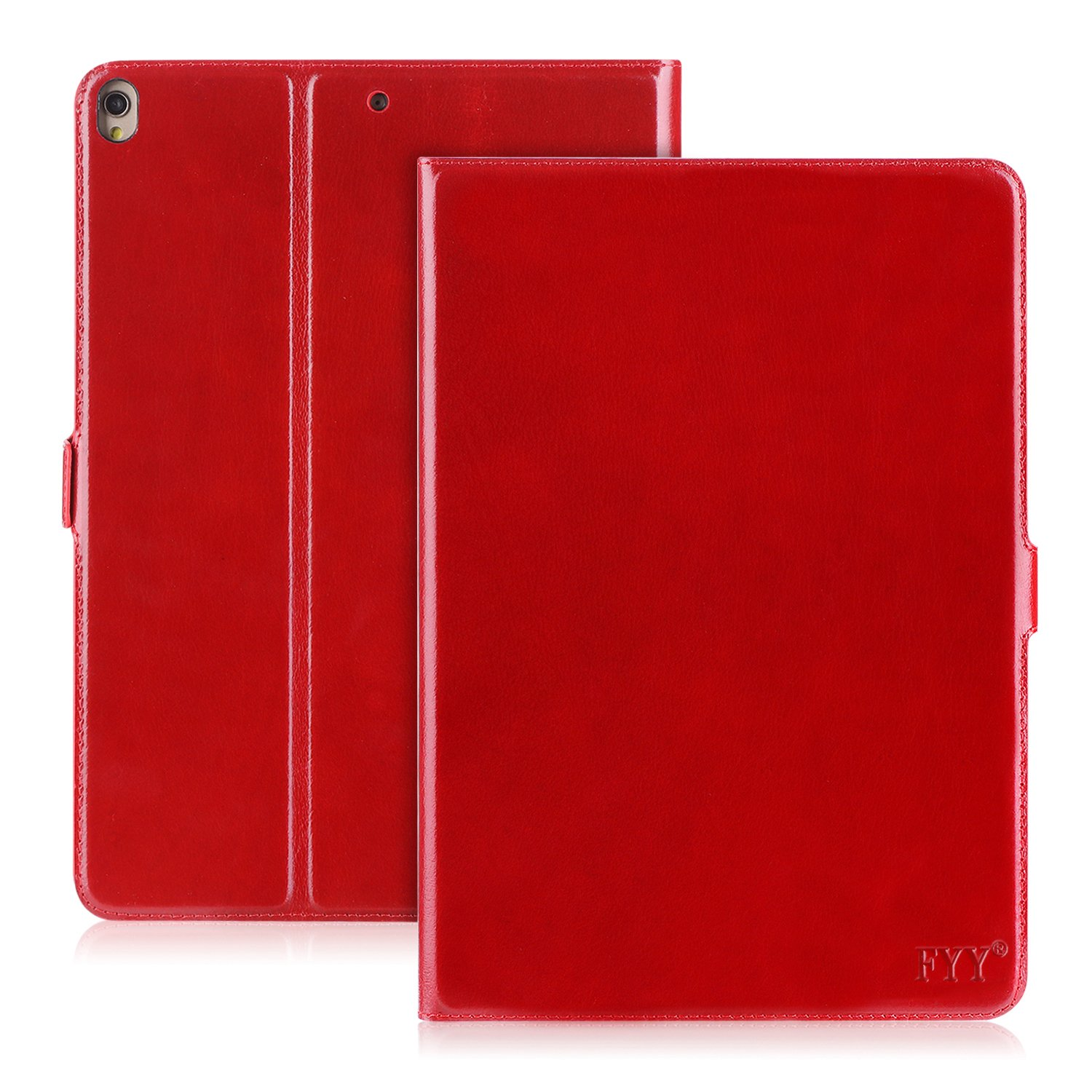 FYY Case for iPad Pro 10.5, Handmade Genuine Leather Case with Kickstand Function for iPad Pro 10.5 Wine Red