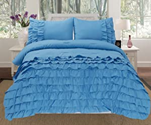 Empire Home 3 Piece Pleated Ruffled Comforter Set Twin/Full/Queen/King 9 Colors Available (Full, Blue)