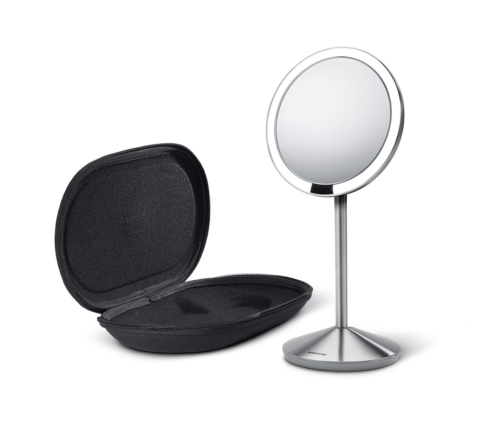 simplehuman 5 inch Sensor Mirror, Lighted Makeup Mirror, 10x Magnification