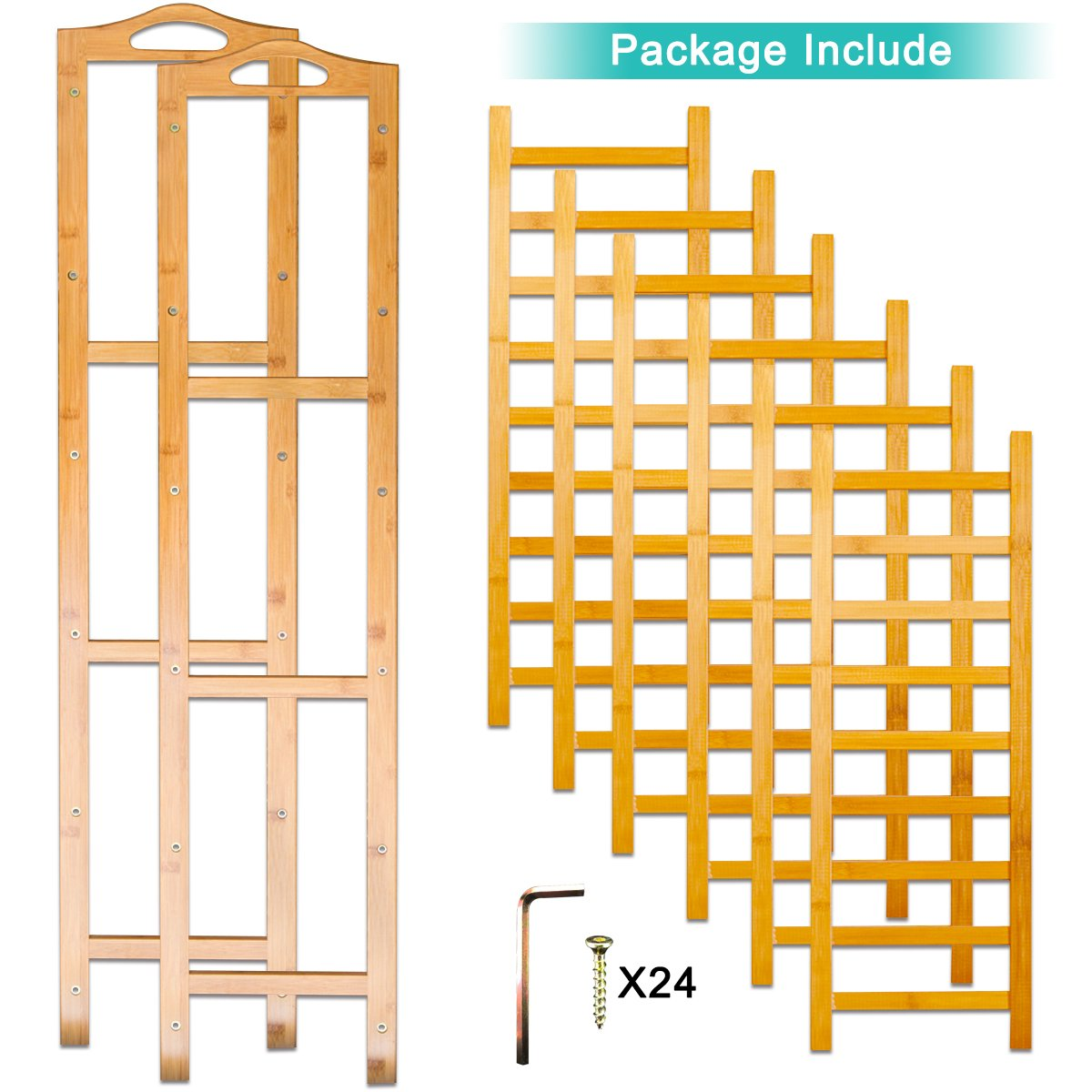 ANKO Bamboo Shoe Rack, 100% Natural Bamboo Thickened 6-Tier Mesh Utility Entryway Shoe Shelf Storage Organizer Suitable for Entryway, Closet, Living Room, Bedroom. (1 PACK) by ANKO (Image #5)
