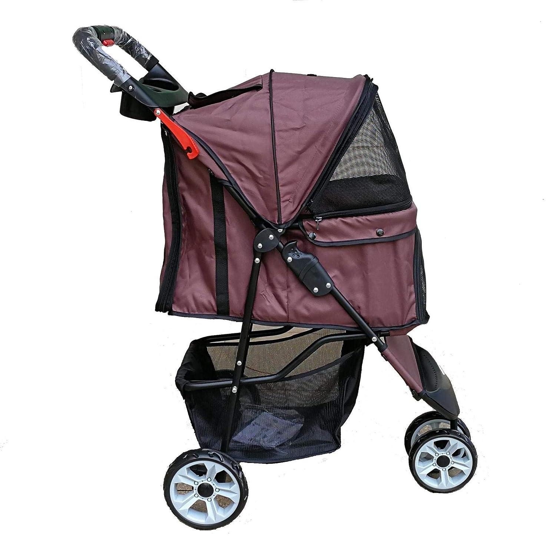 BROWN XJLG+ dog scooter Dog stroller foldable fourwheeled cat and dog universal light pet stroller load 10kg (color   Red)