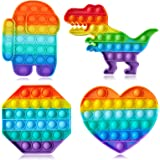 Push Pop Fidget Bubble Fidget Sensory Silicone Squeeze Rainbow Among Toys Stress Relief and Anti-Anxiety Tools Novelty Toy Gi