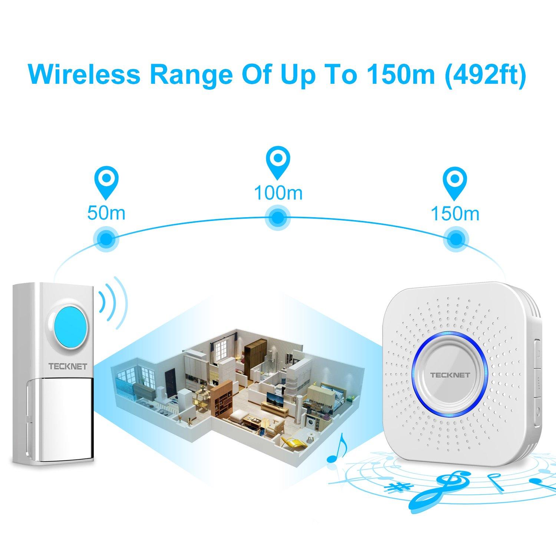 Wireless Doorbell Wall Plug-in Cordless Door 24 Chime 50m Range Waterproof