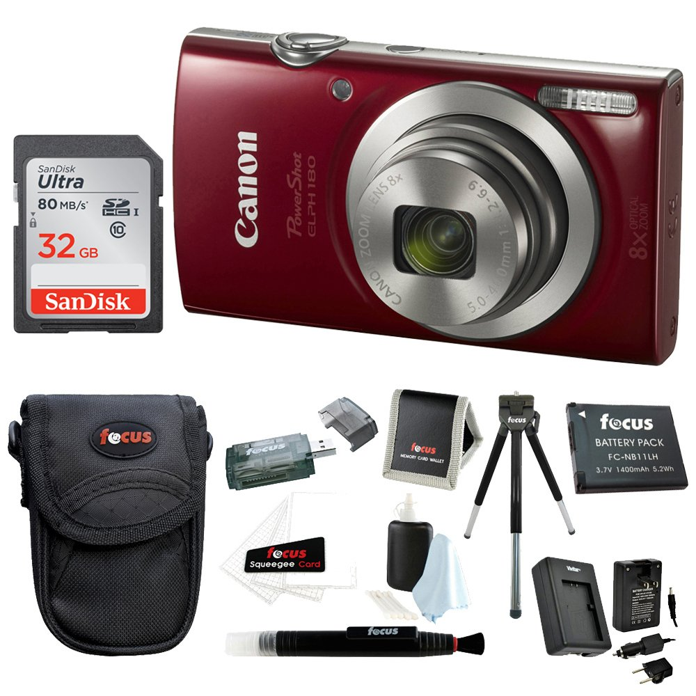 Canon PowerShot ELPH 180 20 MP Digital Camera (Red) + Sony 32GB Memory Card + Focus Rechargeable Replacement Lithium Ion Battery + Travel Quick Charger + Focus Medium Point & Shoot Camera Accessory Bundle by Canon