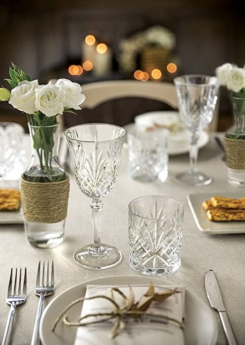 Christmas Tablescape Decor - Elegant Le'raze Manhattan Style Italian Crystal Glasses & Stemware
