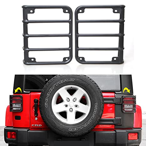 Tail Light Guards Covers For Rear Taillights 2007 2016 Jeep Wrangler JK  Unlimited Accessories (