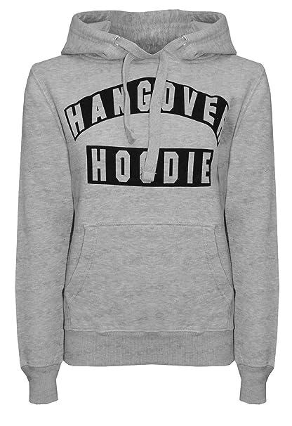 7fc911f1c15e7 New Womens Hangover Hoodies Print Long Sleeve Ladies Top Sweatshirt   Amazon.co.uk  Clothing