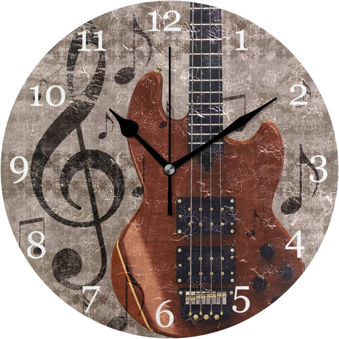 Lmlfes Vintage Music Note Guitar Silent Non Ticking Round Acrylic Wall Clock Home Office School Decorative Clock Art