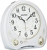 目覚まし時計 メロディ付き 連続秒針 アリアカンタービレN 白 リズム時計 8RM400SR03