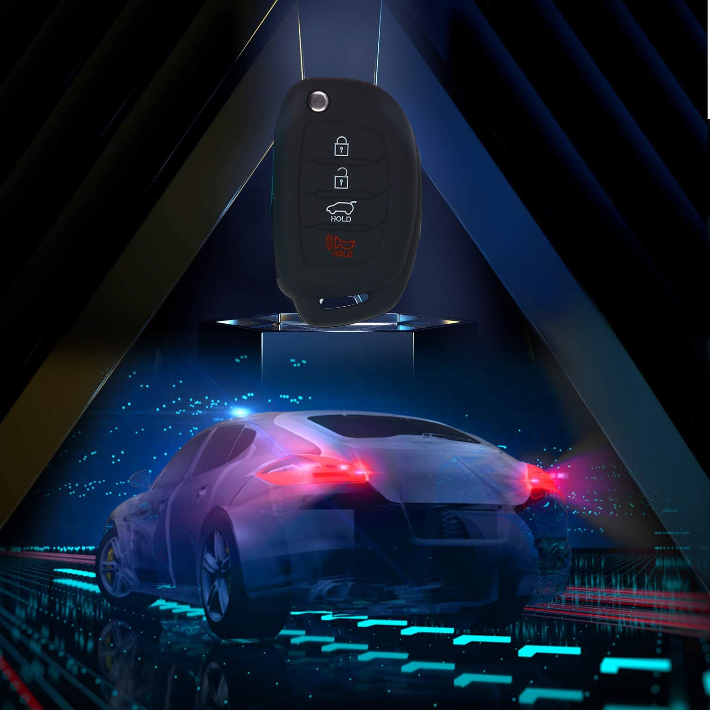 RED 4 Buttons Silicon Rubber Car Key Shell cover Case For Hyundai IX35 New Sonata Santa Fe IX45