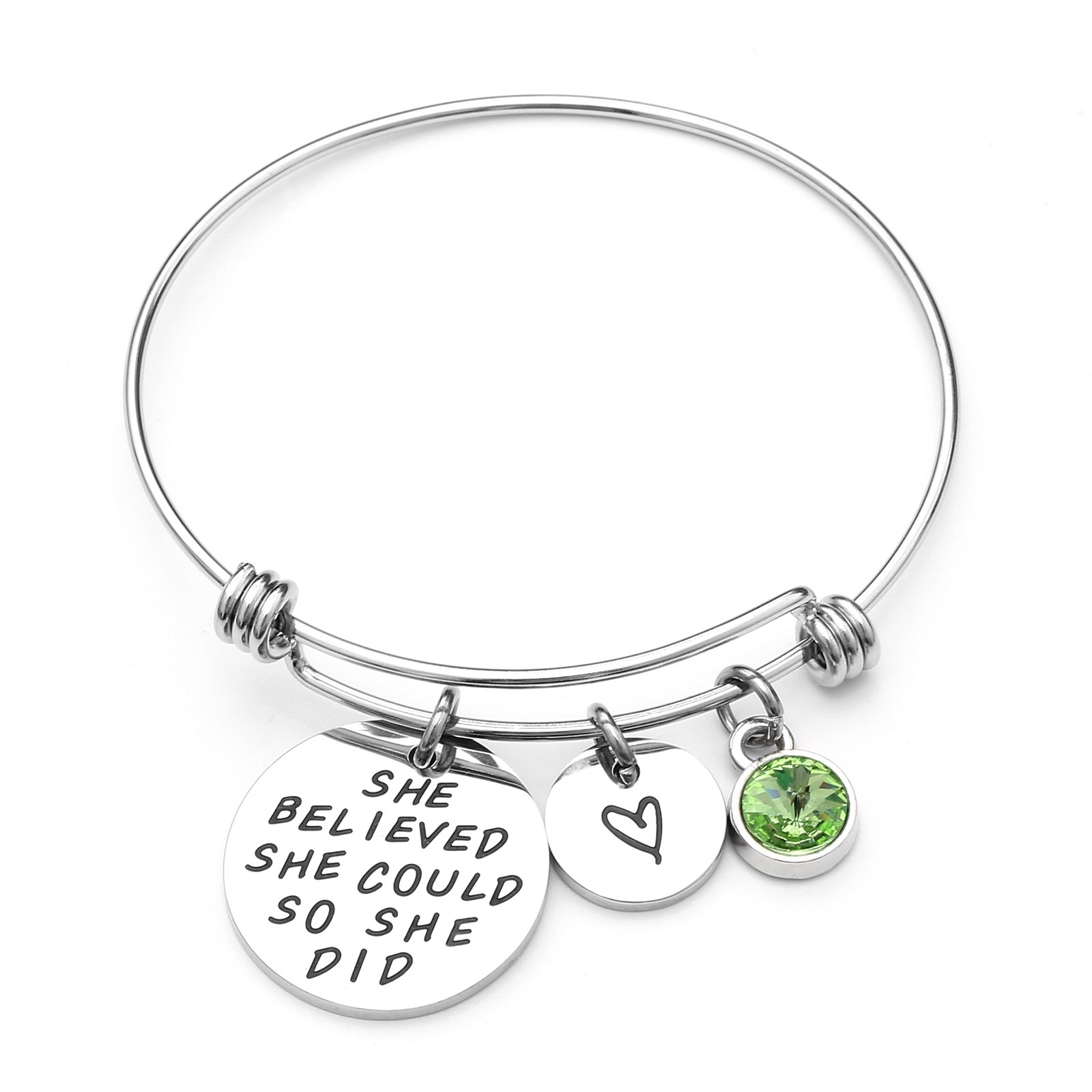 LIUANAN She belived she Could so she did Inspirational Bracelet Expandable Bangle Birthstone Stainless Steel Cuff (Peridot-Aug) ...