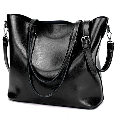 f1037331ec YALUXE Women s Soft Leather Work Handbag Shoulder Bag (Upgraded 2.0) Black