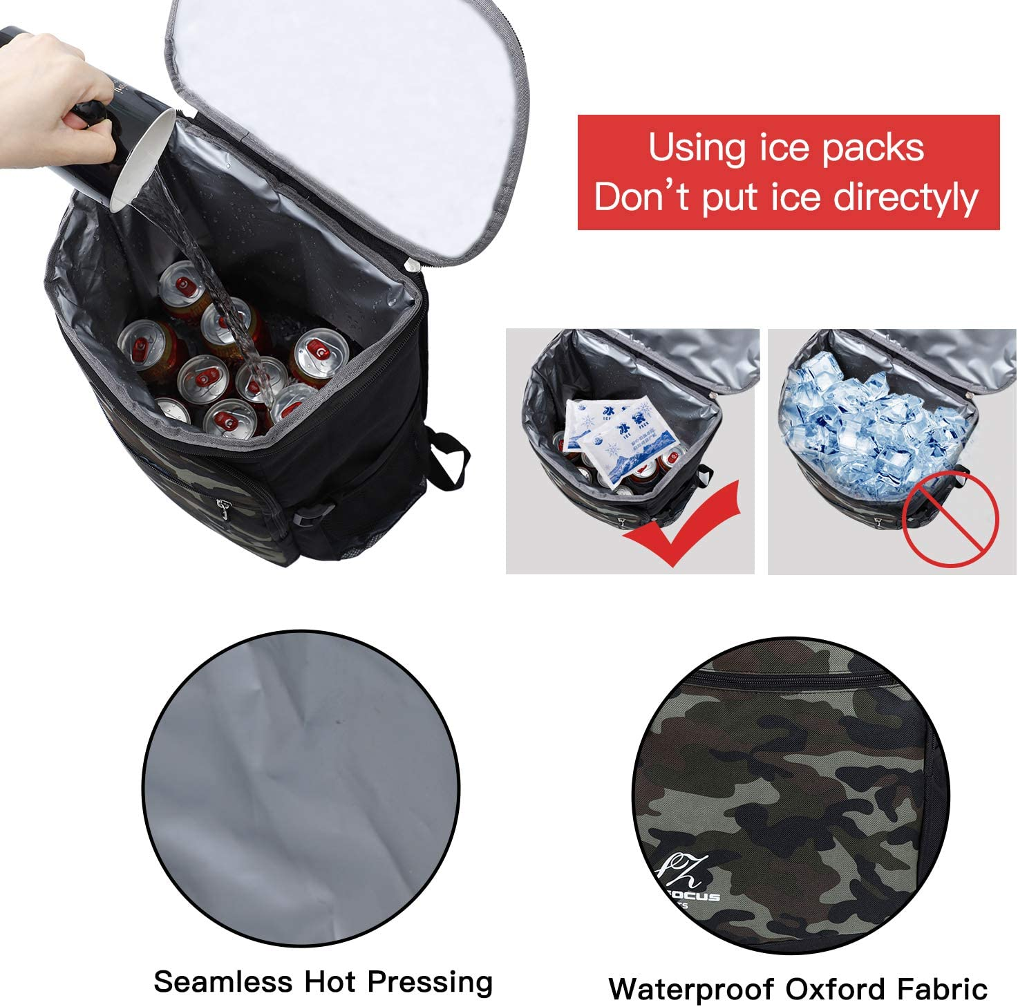 Backpack Cooler Bag Insulated-Cooler-Bag-Waterproof-Lightweight-Leakproof for-Lunch-Picnic-Sports-Hiking-Camping-Beach-Park-Day-Trips