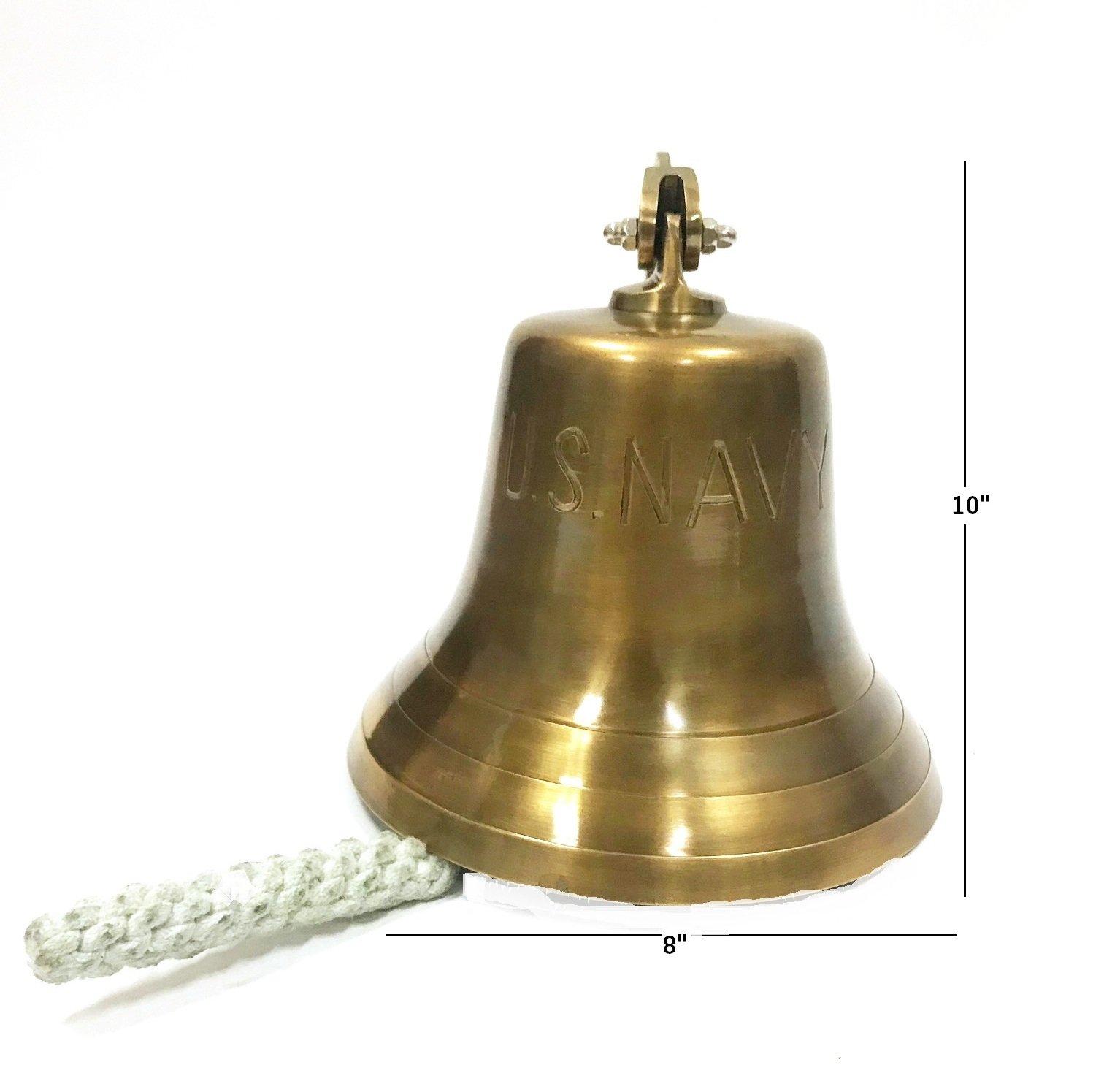 10'' Brass US Navy Ship Bell - Nautical Replica