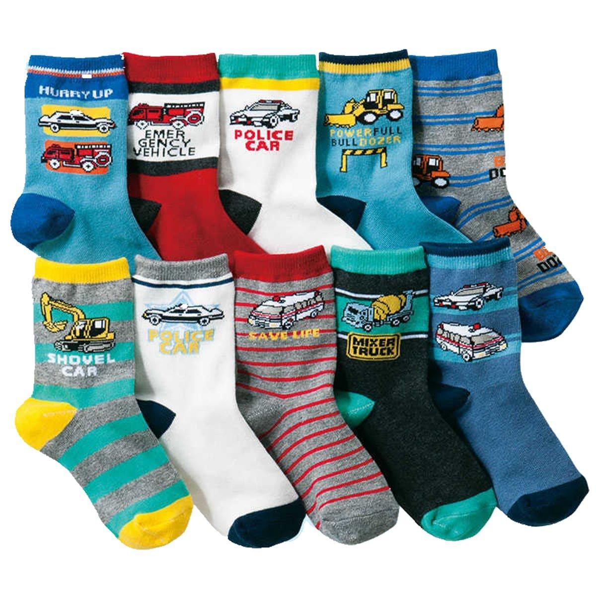 Boys Short Socks Fashion Excavator Cotton Basic Crew Kids Socks 10 Pair Pack