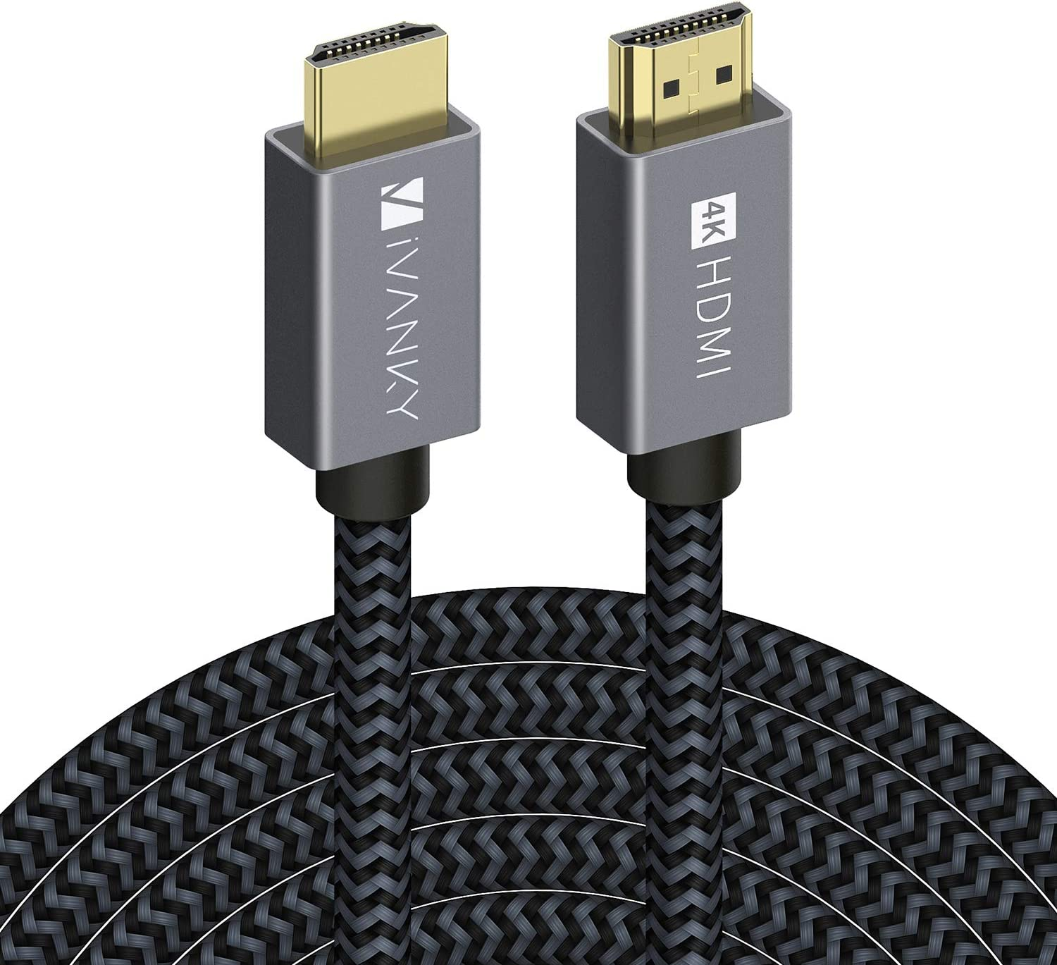 4K HDMI Cable 25 ft, iVANKY High Speed 18Gbps HDMI 2.0 Cable, 4K HDR, HDCP 2.2, 3D, 2160P, 1080P, Ethernet - Braided HDMI Cord, Audio Return (ARC) Compatible UHD TV, Blu-ray, PS4/3, Monitor, Projector