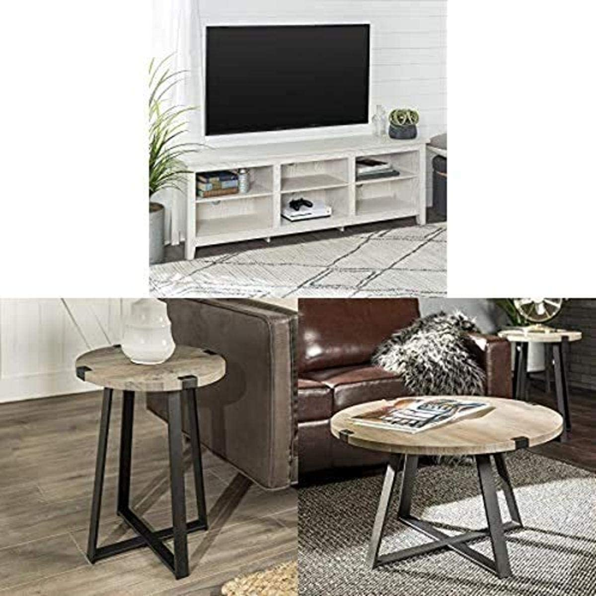 Walker Edison Furniture Company Minimal Farmhouse Wood Universal Stand for TV with WE Furniture Round Metal Side End Accent Table, 18 Inch and Round Metal Coffee Accent Table, 30 Inch, Grey, Black