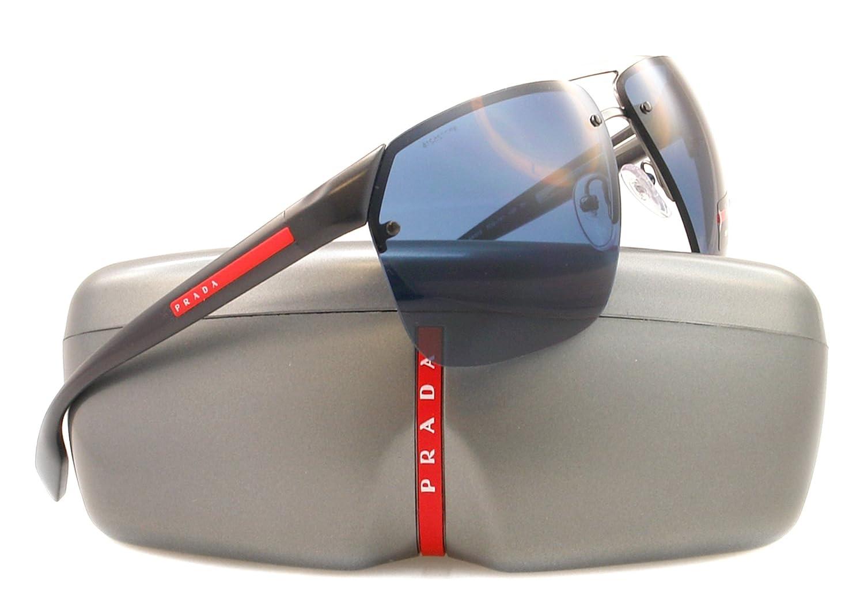 6ac7e36aca79c Prada Linea Rossa Men s 57o Gunmetal Frame Blue Lens Metal Sunglasses   Amazon.co.uk  Clothing