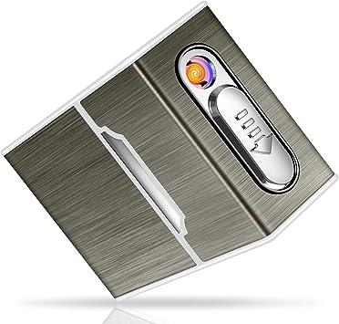Yosemy Caja de Cigarrillo con Mechero Cigarette Case de Aluminio USB Recargable Caja Cigarrillo con Encendedor Pitilleras para Mujer y Hombre: Amazon.es: Equipaje