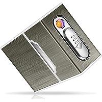 Yosemy Caja de Cigarrillo con Mechero Cigarette Case de Aluminio USB Recargable Caja Cigarrillo con Encendedor…