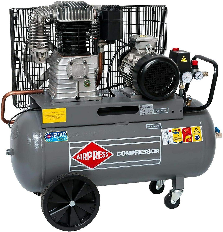 Airpress ölgeschmierter Druckluft Kompressor 5 5 Ps 4 Kw 11 Bar 90 Liter Kessel 400 Volt Großer Kolben Kompressor Hk 700 90 Baumarkt