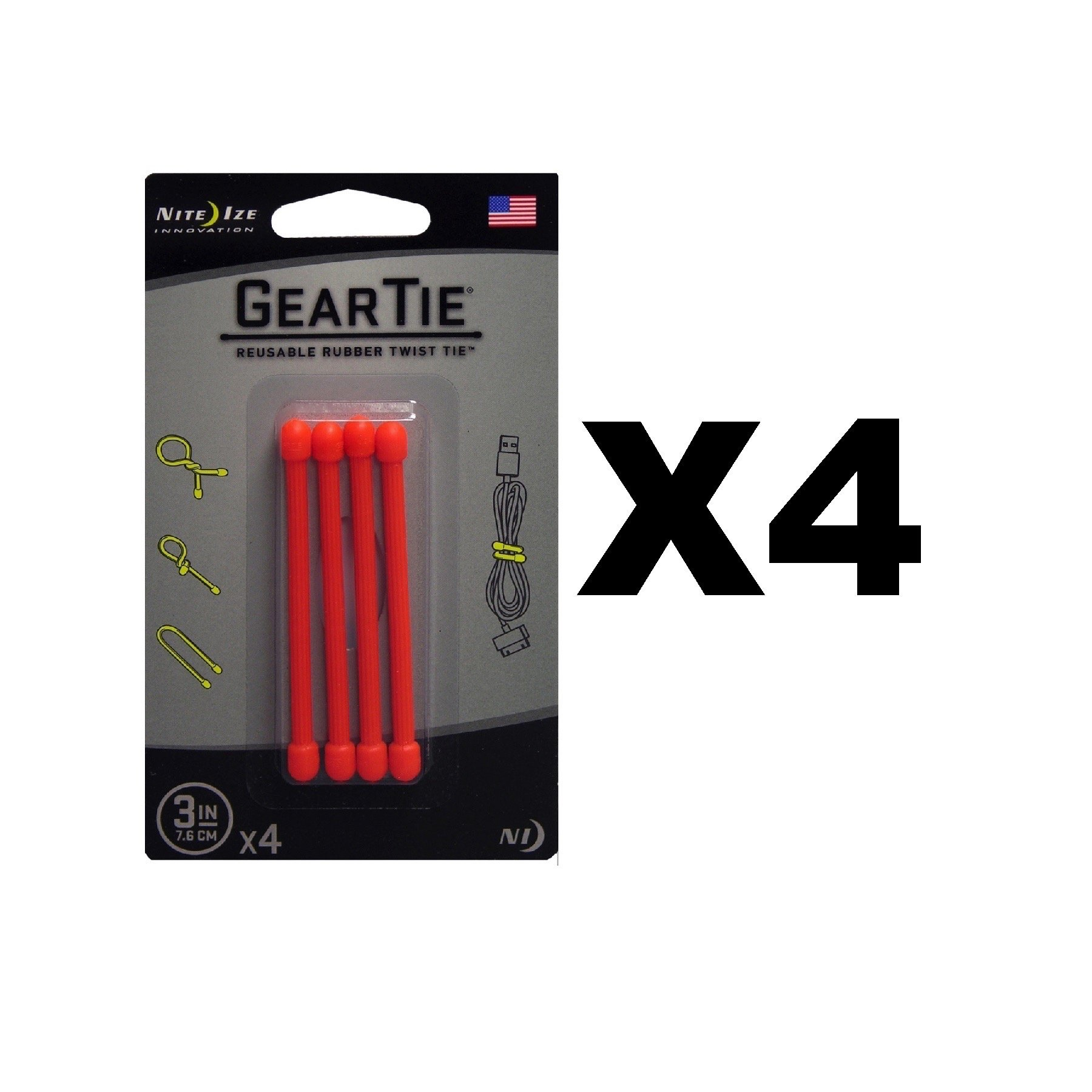 Nite Ize Gear Tie 3'' Bright Orange Reusable Rubber Twisty Ties (4-Pack of 4)