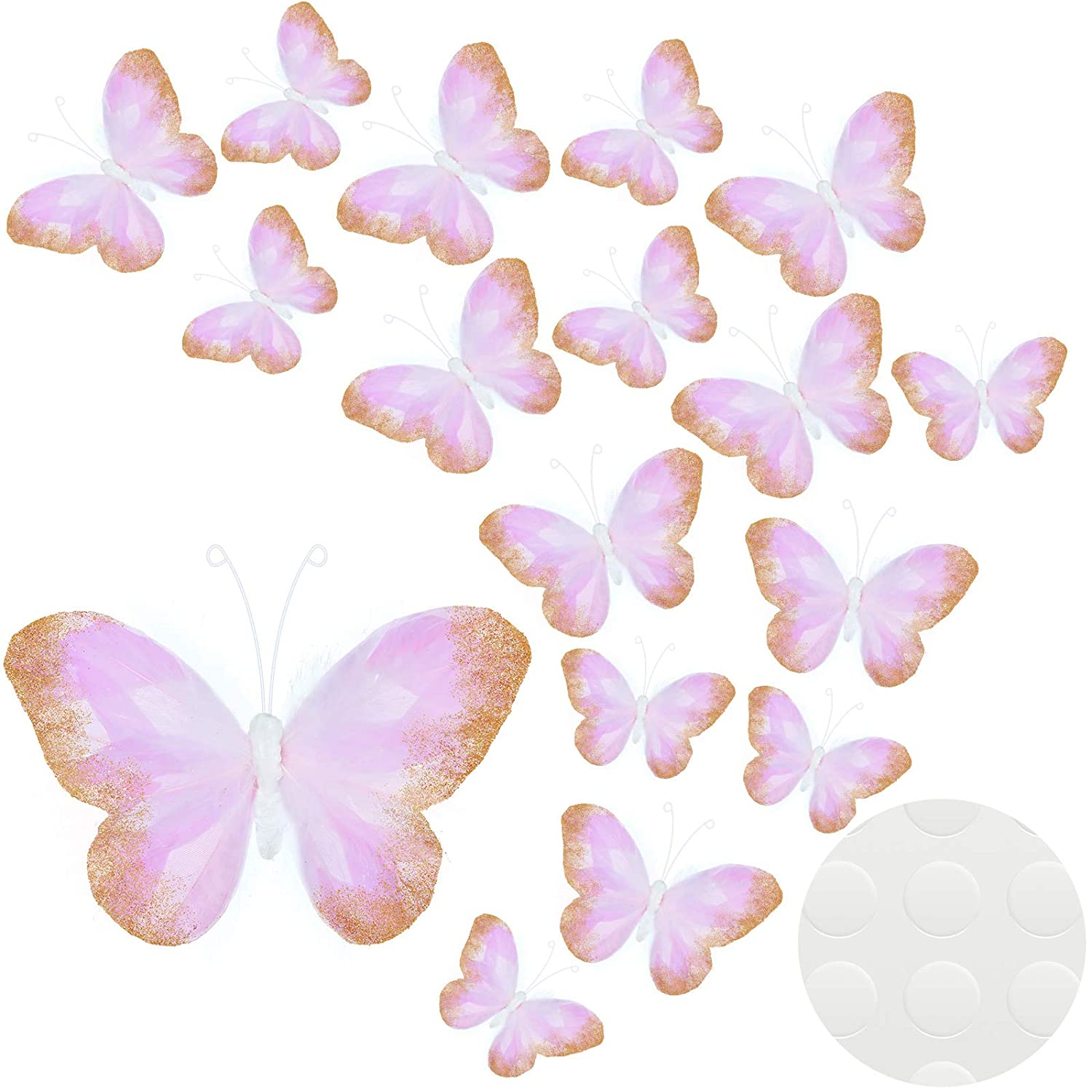 16 Pieces Feather 3D Butterfly Wall Decals Gold Glitter Butterfly Decor Stickers for Room Home Nursery Classroom Offices Kids Girl Boy Bedroom Bathroom Living Room Decor (Light Purple)