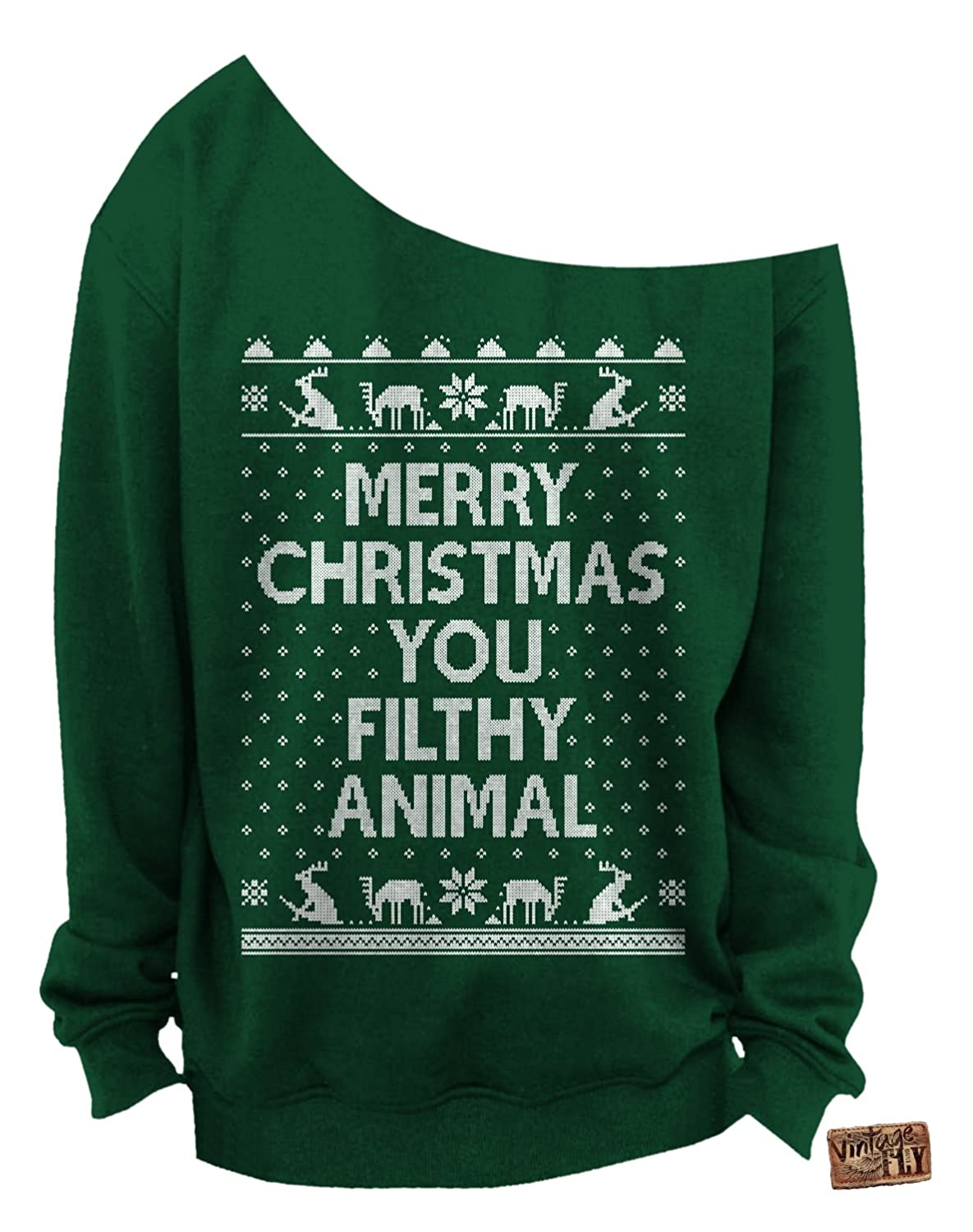 vintage fly ladies ugly christmas sweater merry christmas you filthy animal slouchy sweatshirt at amazon womens clothing store