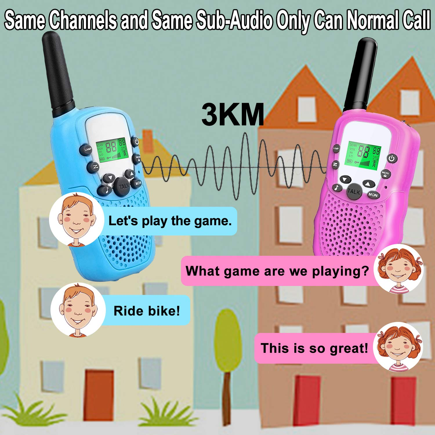 4 Pack Kids Walkie Talkies - 22 Channels 2 Way Radio Long Range Kids Toys, Handheld Child Walkie Talkies for Boys Girls with Flashlight for Sport Outdoor Camping Hiking Prime Electronic Toy Gifts by AMENON (Image #3)