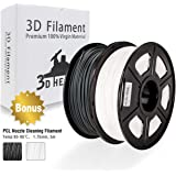 PLA Filament, 3D Hero PLA Filament 1.75mm,PLA 3D Printer Filament, Dimensional Accuracy +/- 0.02 mm, 4.4 LBS(2KGS),1.75mm Filament,2 Packs (White+Black), Bonus with 5M PCL Nozzle Cleaning Filament