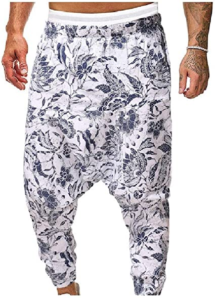 YAXINHE Men Harem Hiphop Dance Loose Floral Print Relaxed Fit Running Trousers