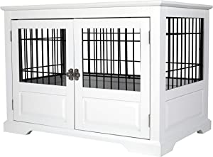 Zoovilla Fairview Framed Panel Design Triple Door Indoor Pet Crate with Removable Plastic Tray, Large - White