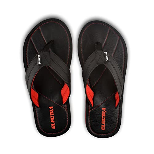 18a21b6b0 Electra Men s Black Red Color Flip-Flops and House Slippers (Size-10 ...