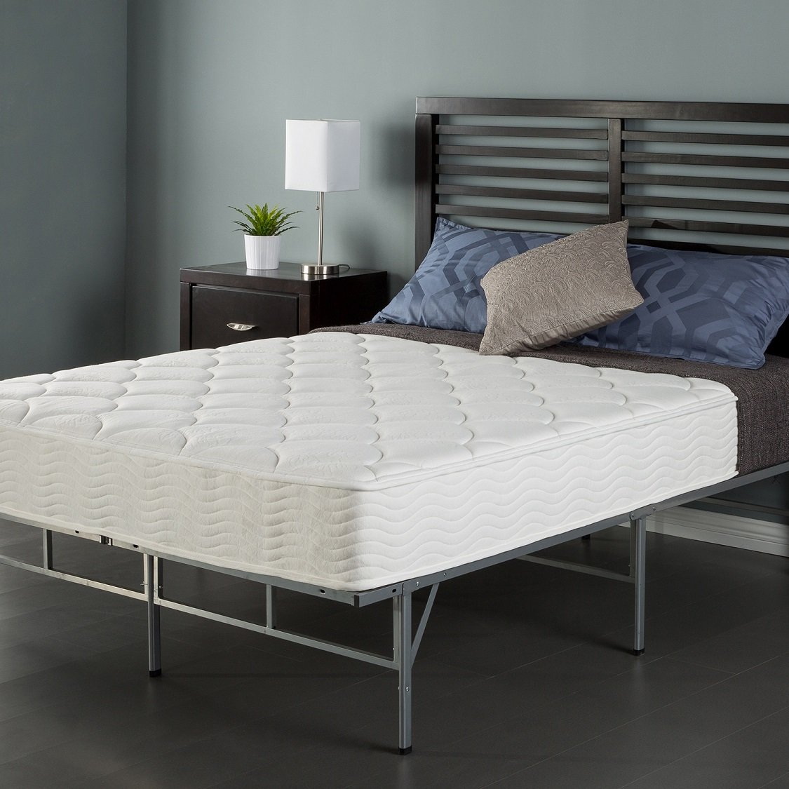 Sleep Master 8'' Coil Mattress and Easy to Assemble Smart Platform Metal Bed Frame, Twin