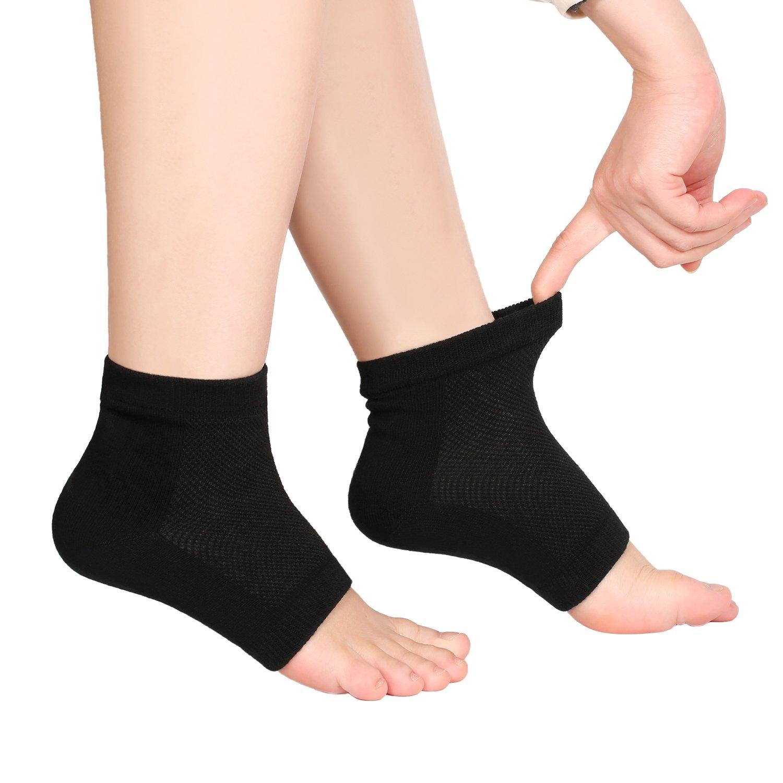 Bememo Soft Ventilate Gel Heel Socks Open Toe Socks for Dry Hard Cracked Skin Moisturizing Day Night Care Skin, 3 Pairs (Black) by Bememo (Image #5)