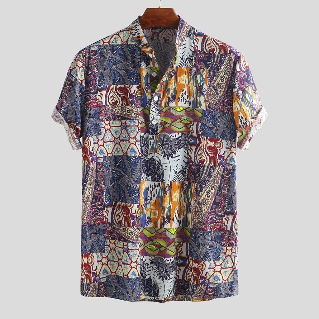 Men/'s Summer Vintage Shirt Turn Down Collar Short Sleeve Slim Fit Top Newly