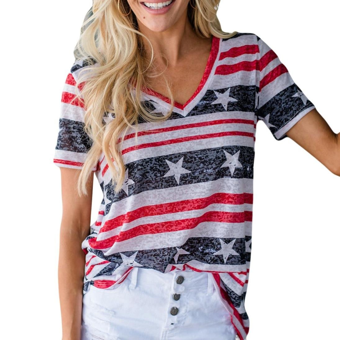 Elogoog Womens Short Sleeve Patriotic Blouse with USA Stripes Star Printed V Neck T-Shirt (Red, L)