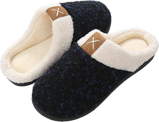 Baumwolle Gummisohle Pantoffeln Herren Memory Schaum Zweifarbige Hausschuhe