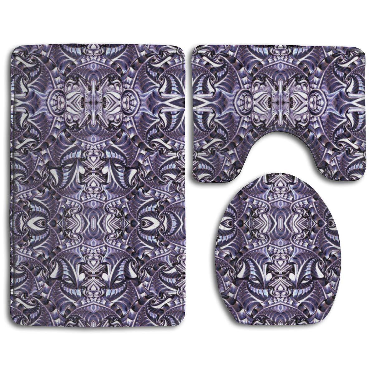 3Pack U-Shape Non-Slip Flannel Bathroom Bath Rug Foam Pad Mat Shower Carpet Mat