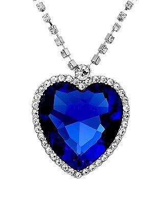 Crunchy Fashion Blue Sapphire Heart Pendant Necklace For Women Pendants at amazon