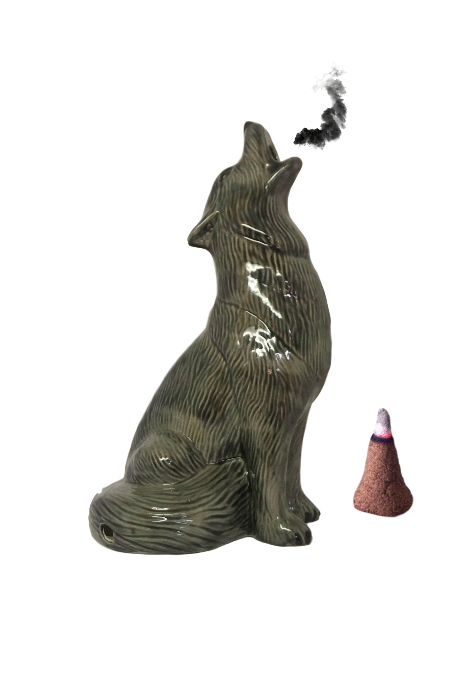 Mom's Majestics - 2018 Large Howling Wolf Smoking Cone Incense Burner (Glazed Black, Large)