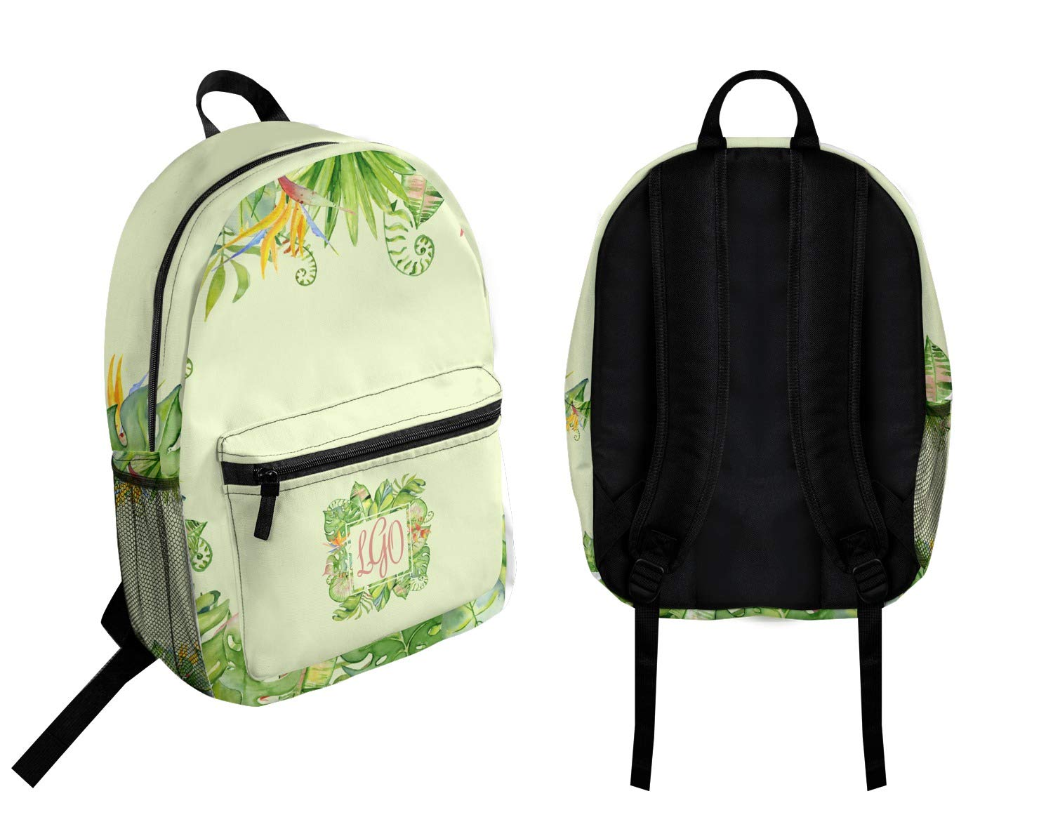 Personalized Tropical Leaves Border Student Backpack